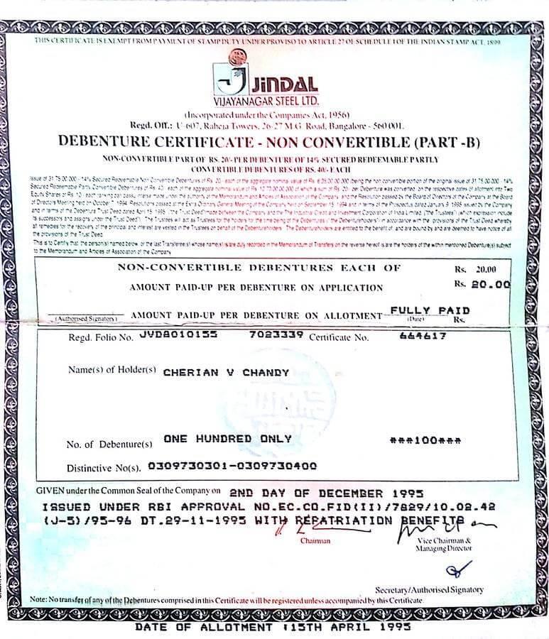 Debenture Certificates for Different Kinds of Debentures, Specimen Presentation of Debenture Certificates for Different Kinds of Debentures, HSC Projects, HSC Projects