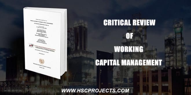 , Critical Review Of Working Capital Management At Reliance Infrastructure, HSC Projects, HSC Projects