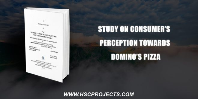 , Study On Consumer's Perception Towards Domino's Pizza, HSC Projects, HSC Projects