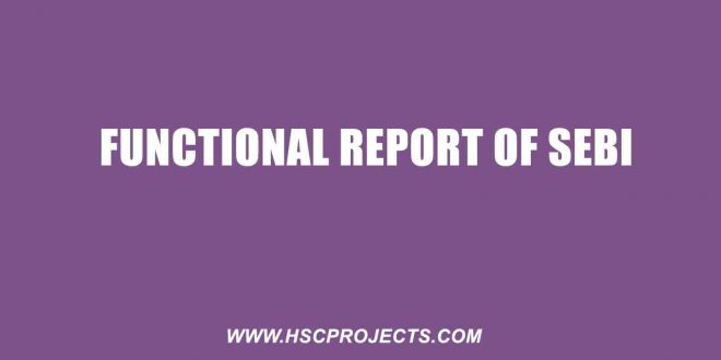 Functional Report of SEBI, Functional Report of SEBI – HSC Project Maharashtra Board, HSC Projects, HSC Projects