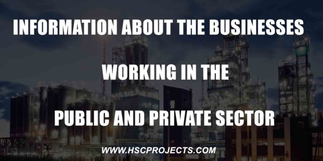 Information About The Businesses Working in The Public and Private Sector, Information About The Businesses Working in The Public and Private Sector, HSC Projects