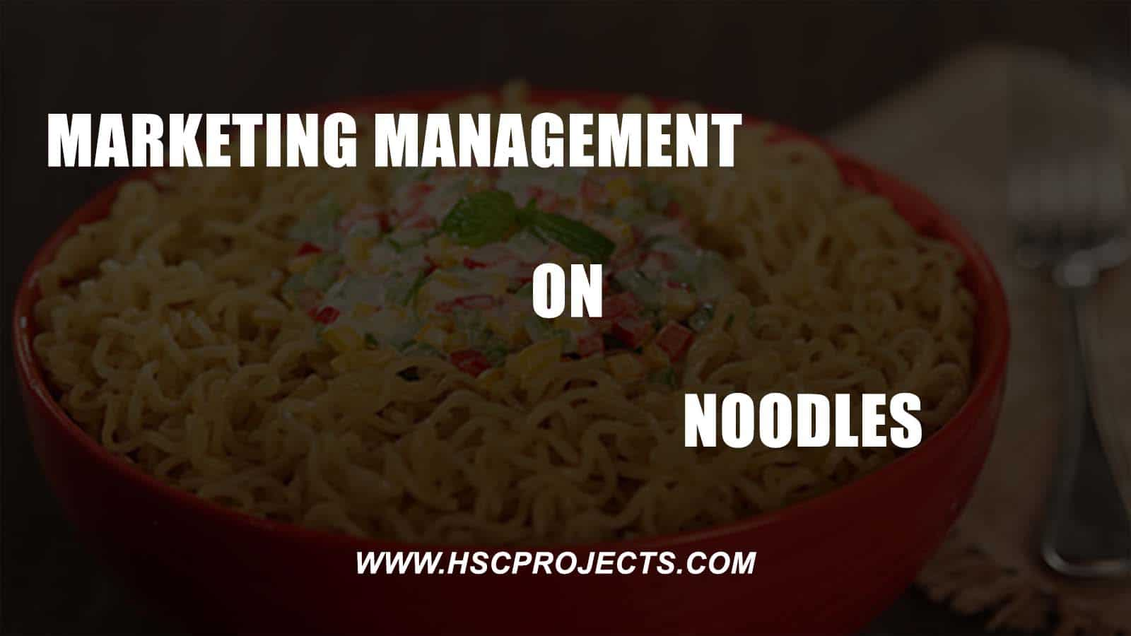 , Marketing Management on Noodles – Class 12, HSC Projects